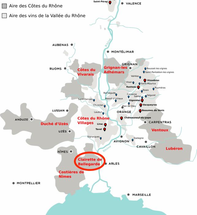 Carte montrant le vignoble des côtes du rhone et situant la clairette de Bellegarde au sud ouest de Nîmes en direction d'Arles